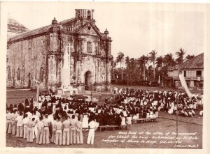 Taken on October 25, 1952. Mass was held at the altar of the monument. The priest was Fr. Rector Salvador of Ateneo de Naga.